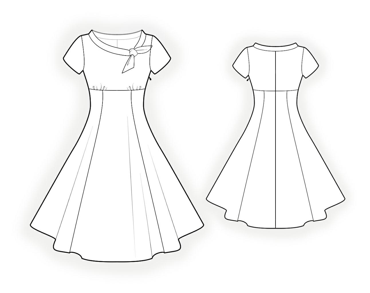 怎样画一字领连衣裙的简笔画