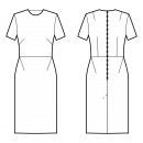 Dress-Bodycon (knit fabrics!)-Midi length-Jewel neckline-No collar-No front closure-Dress with waist seam-Straight skirt with waist seam and side darts-All front darts transferred to french dart-Back shoulder and waist dart-1/8 sleeve