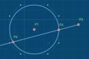 intercept (center,radius,point,angle,side)