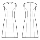 Dress-Semi-fitted-Jewel neckline-No collar-Midi length-No front closure-Sheath dress-No waist seam, 6-panel skirt-Princess front seam: armhole to waist-Back princess seam armhole to waist-Short Wing Sleeve