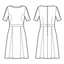Dress-Semi-fitted-Modest bateau-No collar-Midi length-No front closure-Dress with waistband-A-line skirt with box pleats-Front armhole and waist side darts-Back waist dart-Sleeve with box pleat and V-shaped cuff