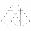 Dress-Fitted-Midi length-Dress with straps-Sweetheart top edge-No top decoration-No front closure-Dress with waistband-High-low (FULL) circular skirt-Front french and waist dart-Back waist dart-Choose straps-Thin straps