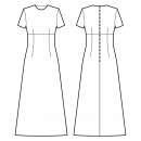 Dress-Fitted-Full length-Regular armholes-Jewel neckline-No collar-No front closure-Dress with empire waist-High waist seam, A-line dress with darts-All front darts transferred to waist dart-Back waist dart-1-seam sleeve, 1/16 length