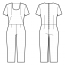 Jumpsuits-Fitted-Regular armholes-U-neckline-No collar-No front closure-Jumpsuit with waist seam-Tapered pants-Midi length-Front shoulder end and waist side darts-Back waist dart-1-seam sleeve, 1/16 length