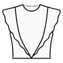 Princess front seam: shoulder to waist center with flounce