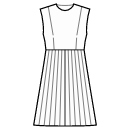 Pleated skirt with waist seam