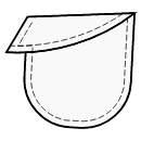 Slanted opening and 1-piece flap