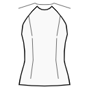Top with raglan sleeves without waist seam