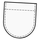 Patch pocket with rounded lower edge