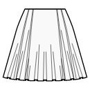 1/3 circle 6 panel skirt with two pleats
