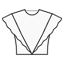 Princess front seam: shoulder end to waist center with flounce