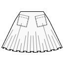 Semi circle skirt with patch pockets