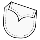 Pocket with shaped 1-piece flap