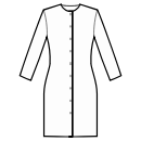 Closure from neckline to hem with folded placket