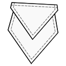 Diamond pocket with sharp flap