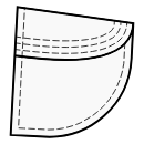 Pockets with curved 1-piece flap