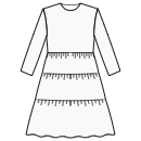 3-tiered skirt at high waist