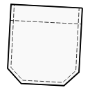 Patch pocket with trimmed corners