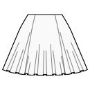 1/2 circle 6 panel skirt