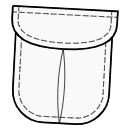 Pleated pocket with rounded flap