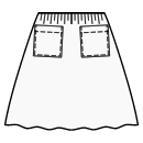 Gathered skirt with patch pockets
