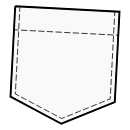 Patch pockets with sharp lower corner