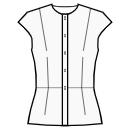 Button closure neckline to hem