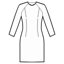 Dress with raglan sleeves without waist seam