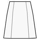 Waist seam, 6-panel skirt