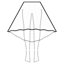 High low (MAXI) semi circular skirt