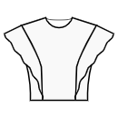 Princess front seam: shoulder end to waist with flounce