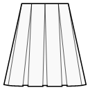 8-panel skirt with box pleats
