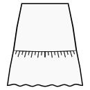 A-line skirt with gathered flounce at hem