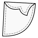 Crescent pocket with 1-piece flap