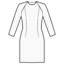 Dress with zero-raglan sleeves without waist seam