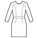 Dress with raglan sleeves and waistband