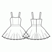 Dress-Fitted-Short length-Smooth top edge-No top decoration-No front closure-Dress with waistband-Circular skirt-Princess front seam: top to waist-Back waist darts-Regular Straps