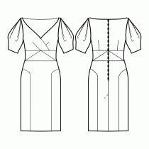 Dress-Semi-fitted-Midi length-Decollette wrap-No front closure-Dress with high waist inset-Straight skirt with side insets-All darts are transferred to center waist-Back waist dart-1/2 Sleeve with double pleat