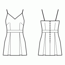Dress-Fitted-Short length-V decollete-No top decoration-No front closure-Dress with waistband-A-line skirt with box pleats-Front french and waist dart-Back waist dart-Choose straps-Thin straps