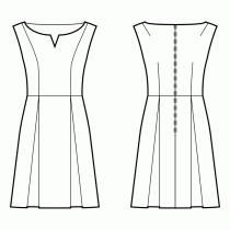Dress-Loose fit-Below knee length-1-piece sleeves, symmetrical-Retro dropped sleeve-Slot Bateau-No collar-No front closure-Dress with waist seam-A-line skirt with box pleats-Princess front seam: shoulder to waist-Back shoulder and waist dart-Preview pattern