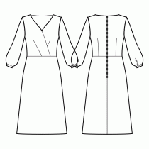 Dress-Bodycon (knit fabrics!)-Maxi length-Comfy neckline regular wrap-No front closure-Dress with waist seam-Waist seam, A-line skirt-All darts are transferred to center waist-Back waist dart-Long sleeve gathered at the cuff