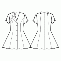 Dress-Semi-fitted-Short length-Regular armholes-Plunging neckline-Jacket style collar with rounded lapel-Closure from neckline to hem with folded placket-Dress without waist seam-No waist seam, half circle panel skirt-Princess front seam: upper armhole to waist-Back princess seam neck top to waist-Sleeve with straps