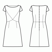 Dress-Fitted-Below knee length-Bateau neckline-No collar-No front closure-Dress with shaped waist seam-High waist seam, A-line dress with darts-Princess front seam: upper armhole to center waist-Back waist dart-Wing Sleeve