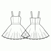Dress-Fitted-Knee length-Smooth top edge-No top decoration-No front closure-Dress with waistband-Circular skirt-Princess front seam: top to waist-Back waist darts-Regular Straps