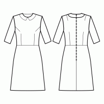 Dress-Semi-fitted-Below knee length-Regular armholes-Tight neckline-Peter Pan collar with straight corners-No front closure-Dress with waist seam-Waist seam, A-line skirt-Front armhole and waist darts-Back shoulder and waist dart-1/2 sleeve