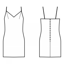 Dress-Semi-fitted-Above knee length-Dress with straps-V decollete-No top decoration-No front closure-Shift slip dress-Plain skirt-Front shoulder dart-No back darts-Choose straps-Thin straps