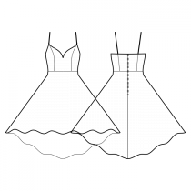 Dress-Semi-fitted-Below knee length-Dress with straps-Deep decollete-No top decoration-No front closure-Dress with waistband-High-low (TEA) circular skirt-Princess front seam: top to waist-Back princess seam: shoulder to waist-Choose straps-Thin straps