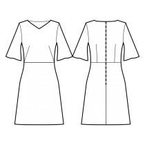 Dress-Semi-fitted-Below knee length-Regular armholes-V bateau neckline-No collar-No front closure-Dress with waist seam-Waist seam, A-line skirt-All front darts transferred to waist side-Back waist dart-Flared sleeve, elbow length