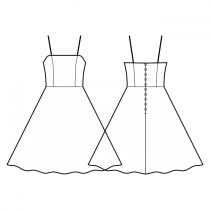 Dress-Semi-fitted-Midi length-Dress with straps-Straight top edge-No top decoration-No front closure-Dress with waist seam-Semi circular skirt-Princess front seam: top to waist-Back princess seam: shoulder to waist-Choose straps-Thin straps