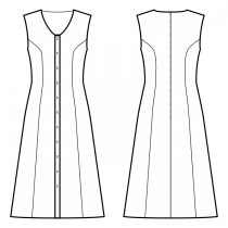 Dress-Semi-fitted-Maxi length-Regular armholes-Rounded V-neckline-No collar-Button closure neckline to hem-Dress without waist seam-No waist seam, 6-panel skirt-Princess front seam: armhole to waist-Back princess seam armhole to waist-No sleeves